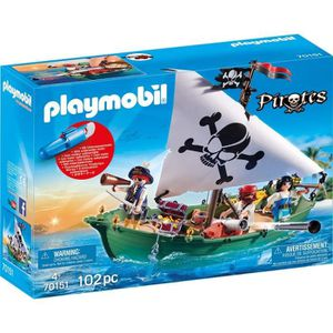 FIGURINE - PERSONNAGE PLAYMOBIL 70151 Pirates - Chaloupe des pirates ave