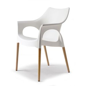 chaise blanche pied bois - achat / vente chaise blanche pied bois ... - Chaise Blanche Et Bois