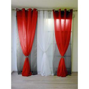 RIDEAU Double voilage noir et rouge à; oeillets