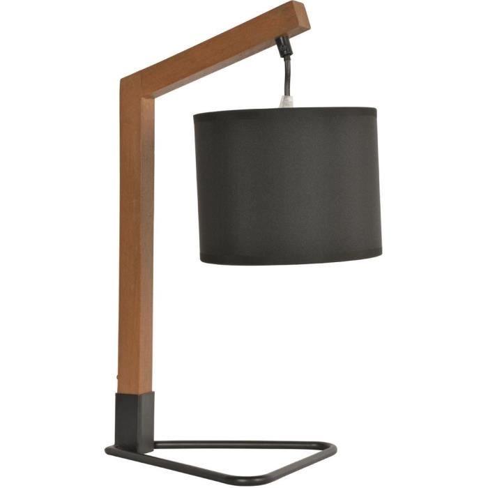 Lampe trépied - Bois et métal peint - H 44 x L 21 x Ø 17 x P 28 cm - Chêne et noir