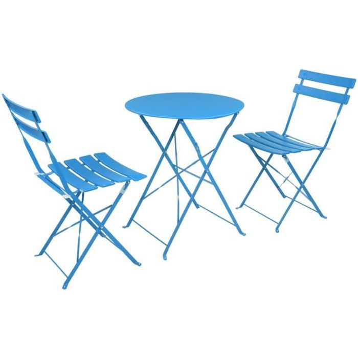 Set bistrot 2 personnes - Table ronde 60 cm + 2 chaises-Bleu