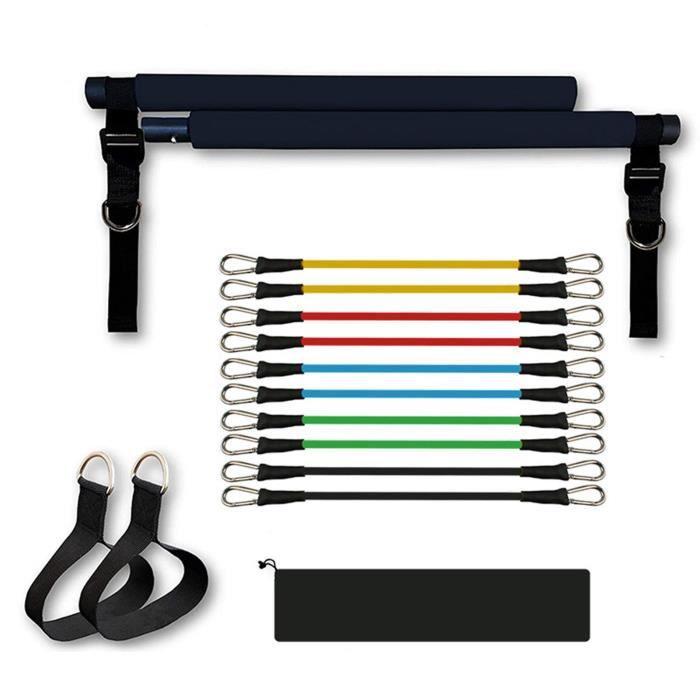 Kit de Barre de Pilates avec Bande de Résistance Réglable Musculation Fitness Squat Équipement Noir