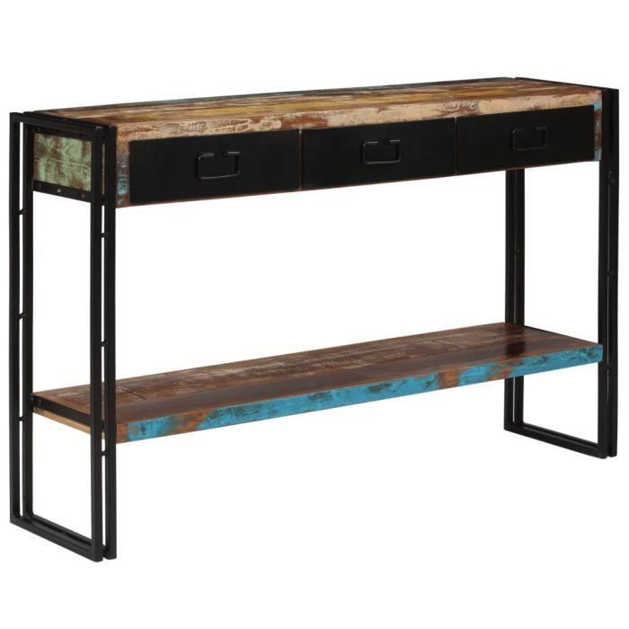 Table console Bois de récupération massif 120 x 30 x 76 cm ABI