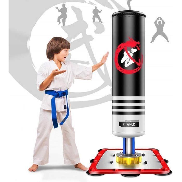 Sac de Frappe sur Pied Enfant Boxe Debout Libre Robuste Punching Kick Appareil - 1.32M - noir