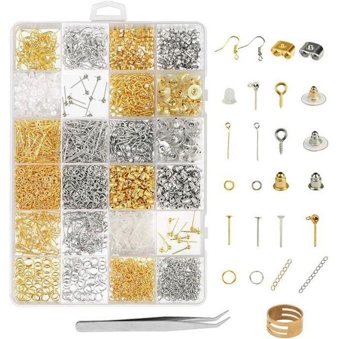 2416 Pcs Kit Bijoux Création Argent Or Fermoir Bracelet Accessoire de Réparation de Bijoux pour DIY Boucles d'oreilles Colliers Brac