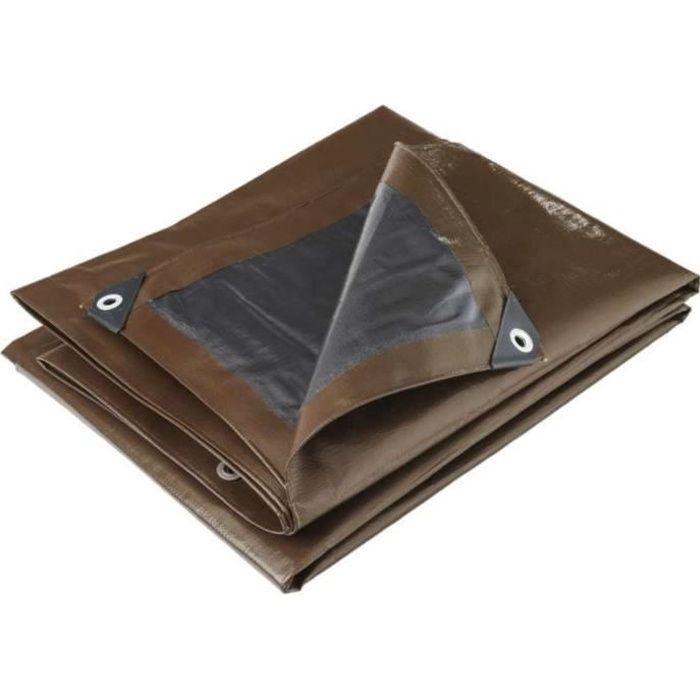 Bâche professionnelle marron 350g-m2 Werkapro 2 x 3 m