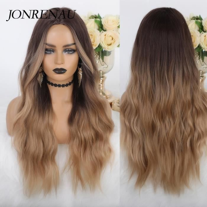 lc334 -JONRENAU perruque naturelle ondulée noire brune à Middle Part avec reflets, perruque synthétique naturelle style fête Cospla