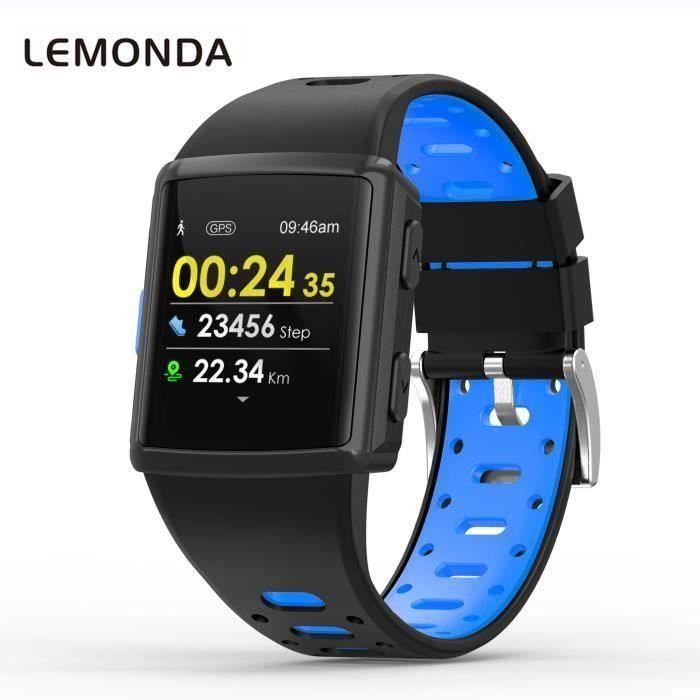GPS Montre Intelligente Bracelet de Homme Femme 1,3 Pouce HD IPS Écran Six Watchfaces Suivi De L'activité En Temps Réel - Bleu-Noir