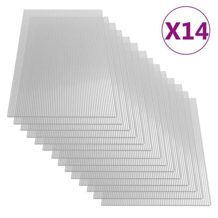 Top Lot de 14 Feuilles de polycarbonate 4 mm 121x60 cm ☺621899