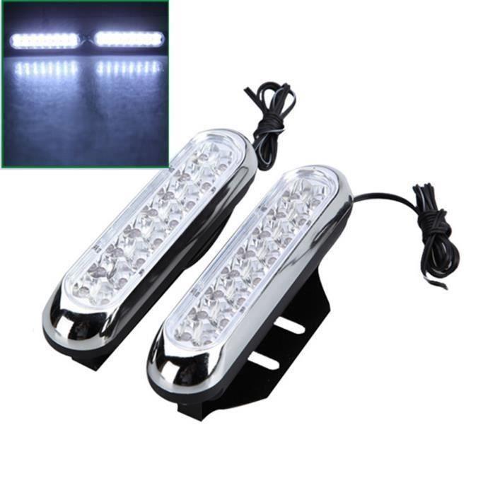 NEUFU 2x 16 LED Lampe Feux Jour Diurne DRL Super Blanc Pour Voiture Benz Audi Style 12V - CSECRG#0727-A1037