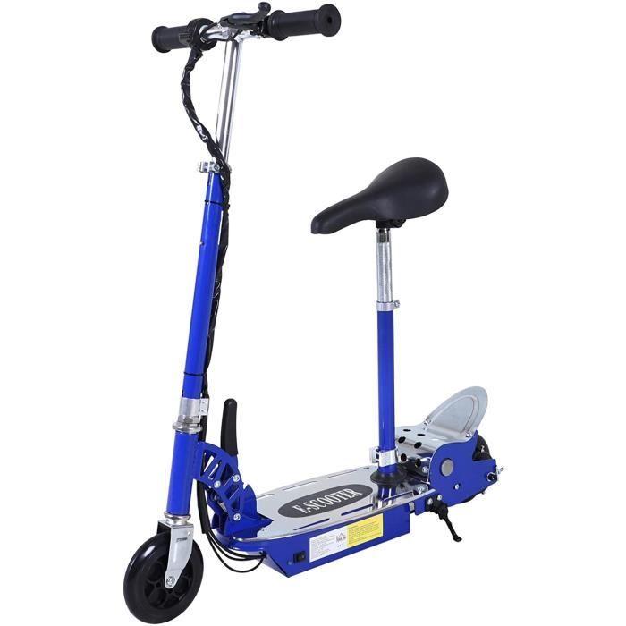 Homcom Trottinette électrique pliante avec guidon et siège réglable avec frein et béquille Charge 70 kg 81,5 x 37 x 96 cm 120 [201]