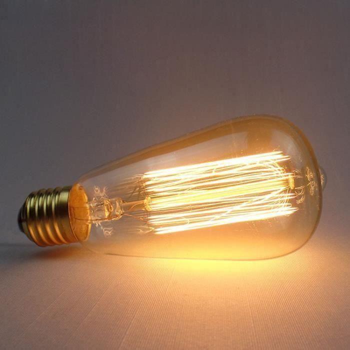 Ampoule LED Edison ST64-E27 220V 60W Filament Tungstène Vintage Lampe Rétro Lumière Blanc Chaud Romantique