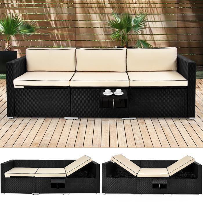 Deuba - Canapé • ensemble en polyrotin noir avec coussins et table • fonction transat - Bain de soleil, salon de jardin, lounge