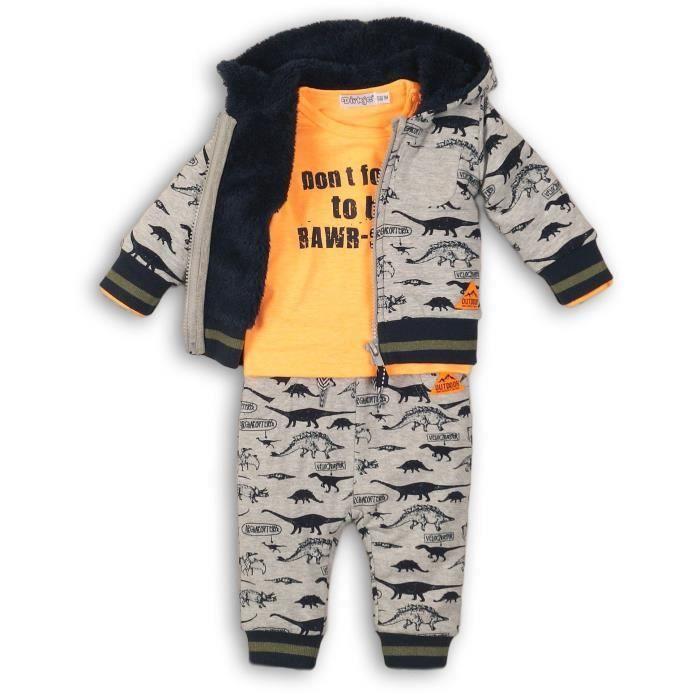 DIRKJE Pyjama Cardigan/Pantalon Gris/Orange Bébé