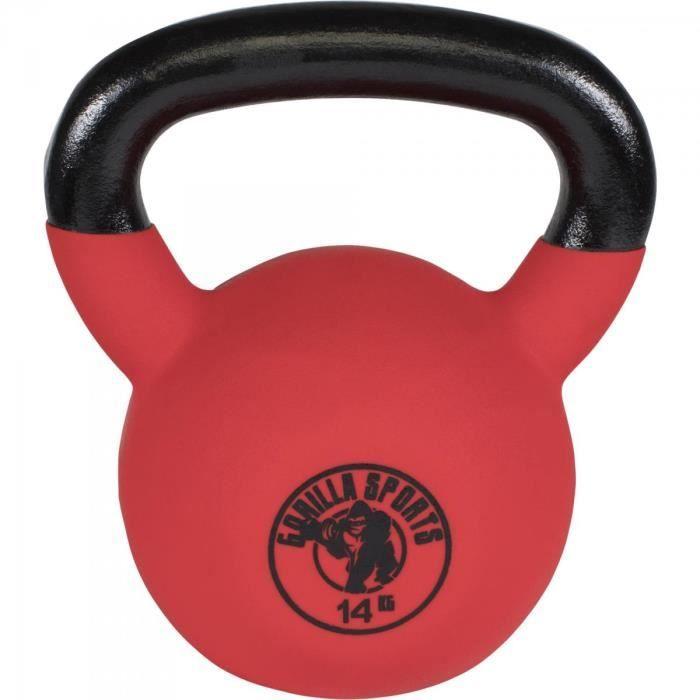 Gorilla Sports - poids Kettlebell fonte néoprène 2Kg à 32kg - 14 KG Noir