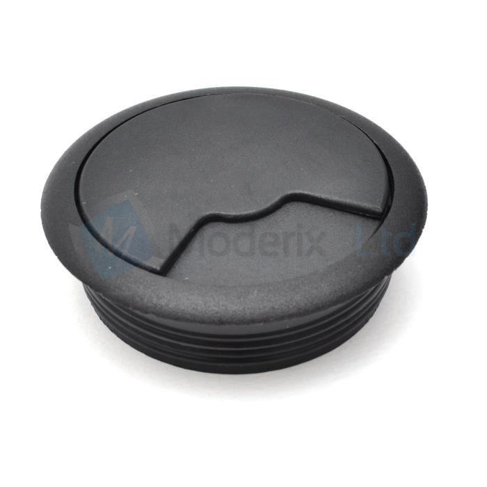 Passe cable passe fil plastique en noir design diamètre 60mm