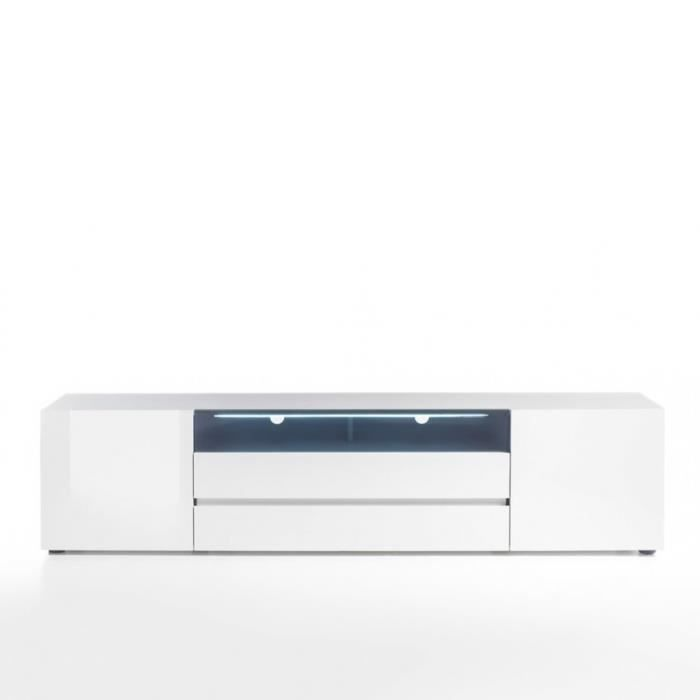 Meuble TV VERONA 203 cm laqué blanc brillant 2 portes, 2 tiroirs, 1 niche blanc MDF Inside75