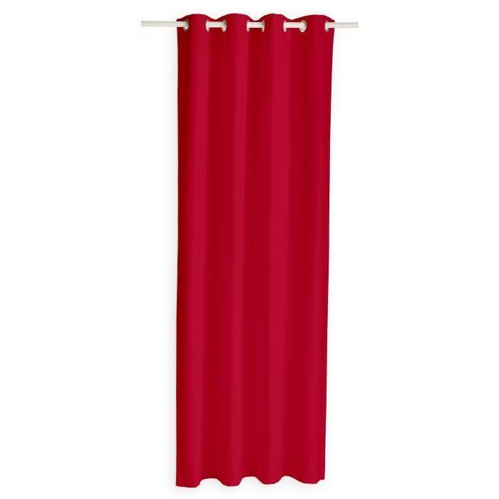 TODAY Rideau occultant à œillets - 140 x 260 cm - Rouge pomme d'amour