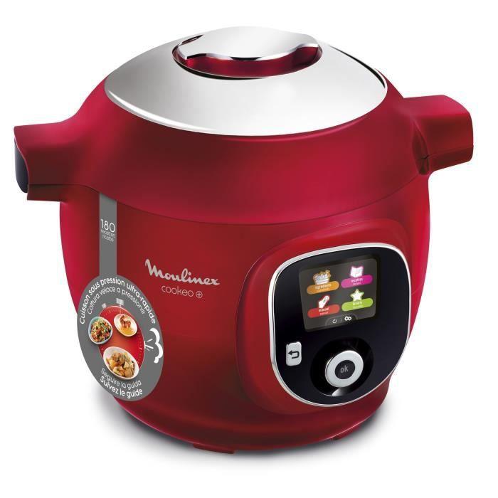 MOULINEX CE85B510 Multicuiseur intelligent COOKEO+ 6 L - 180 recettes préprogrammées - 1600W - 6 modes de cuisson - Rouge