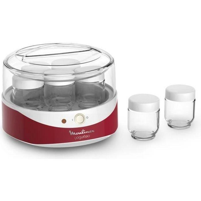 MOULINEX YG229510 Yaourtière Yogurteo - 7 pots en verre - Rouge et blanc