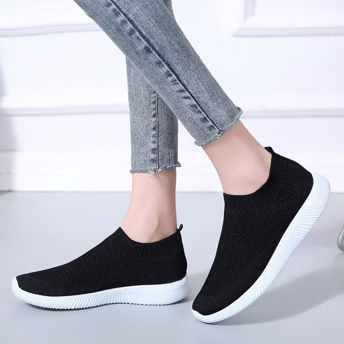 Femmes Outdoor Mesh Sport Solide Couleur Chaussures Sneakers Chaussures Montre Running Respirant Noir LJD81220894BK Noir