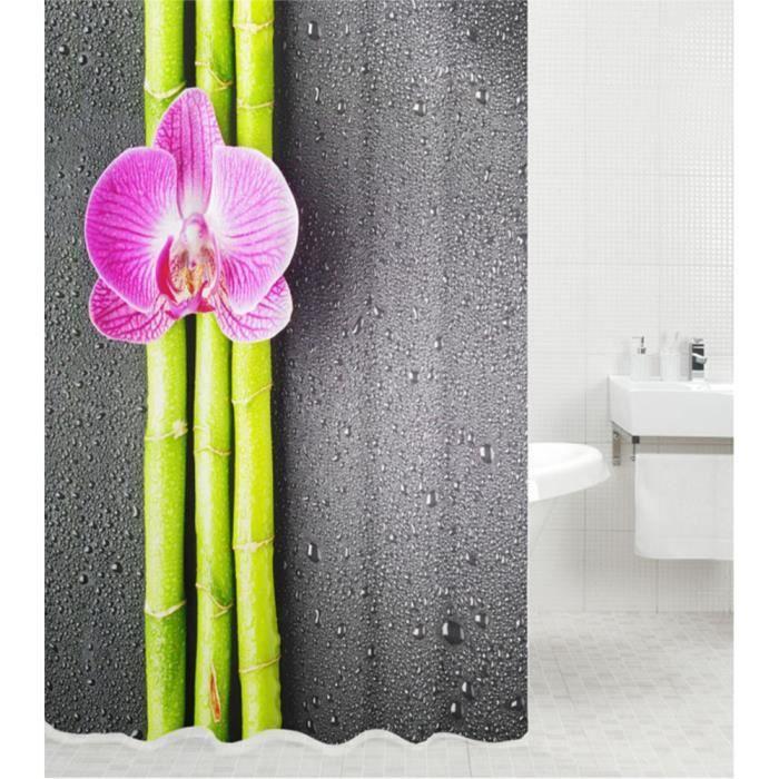 Rideau de douche Asia 180 x 200 cm - de haute qualité - 12 anneaux inclus - imperméable - effet anti-moisissures