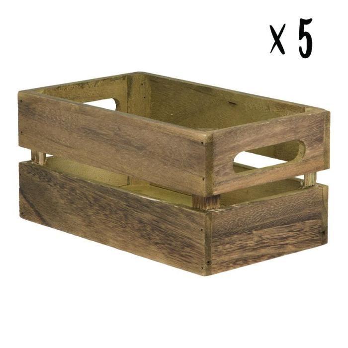 Lot de 5 caisses en bois vintage pour table hôtel - restaurant - CAD-VIN-5 21 Bois Vintage