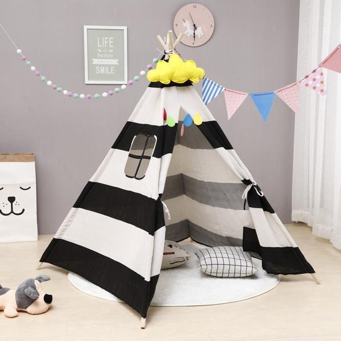 Tente De Jeu Tipi Pour Enfants Indian Maison 100x100x135cm NOIR A