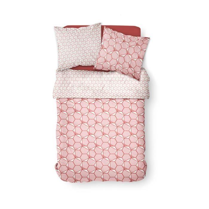 Parure de lit 2 personnes 220X240 Coton imprime rose Graphique SUNSHINE