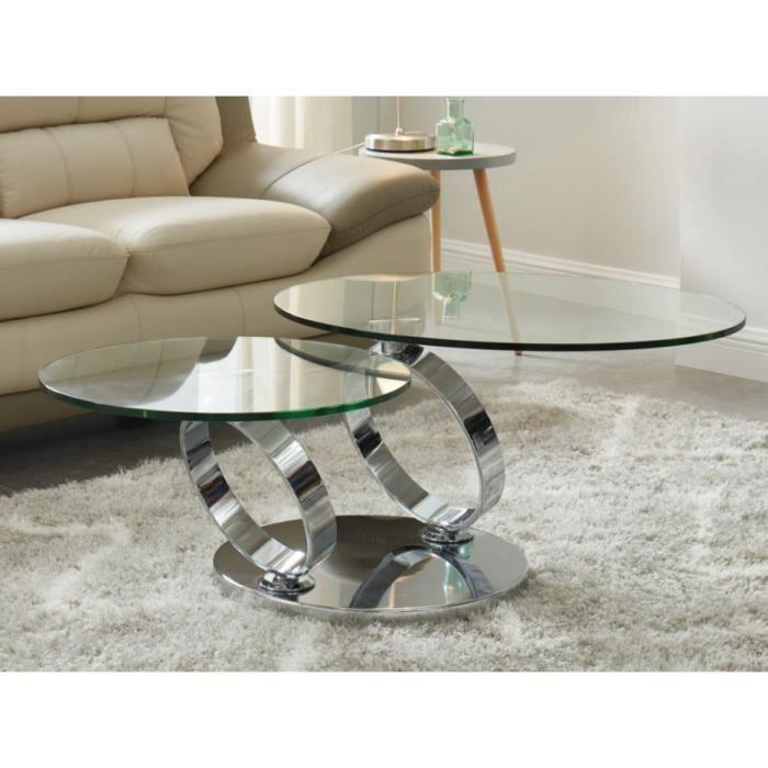 Table basse avec plateaux pivotants JOLINE - Verre trempé & métal