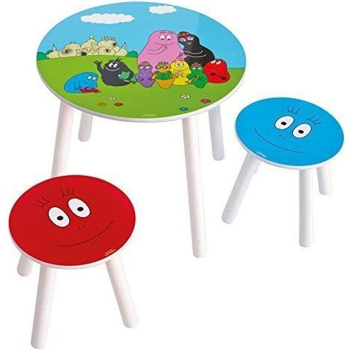 Worlds Apart 865251 Barbapapa Table et 2 Tabourets MDF Bleu 50 x 50 x 44 cm…