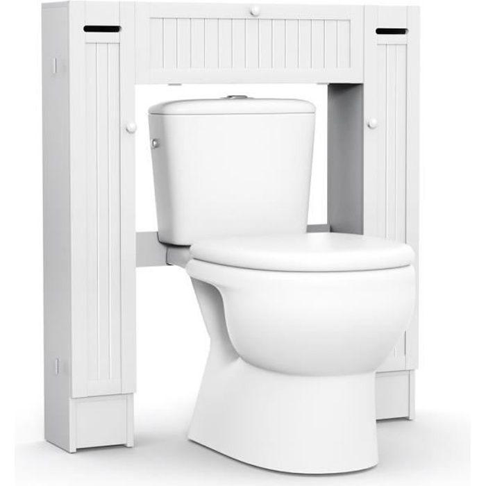 Meuble WC Armoire de Toilette Etagère de Salle de Bains Pont WC pour  Rangement 87 x 18 x 98 cm Blanc en Bois