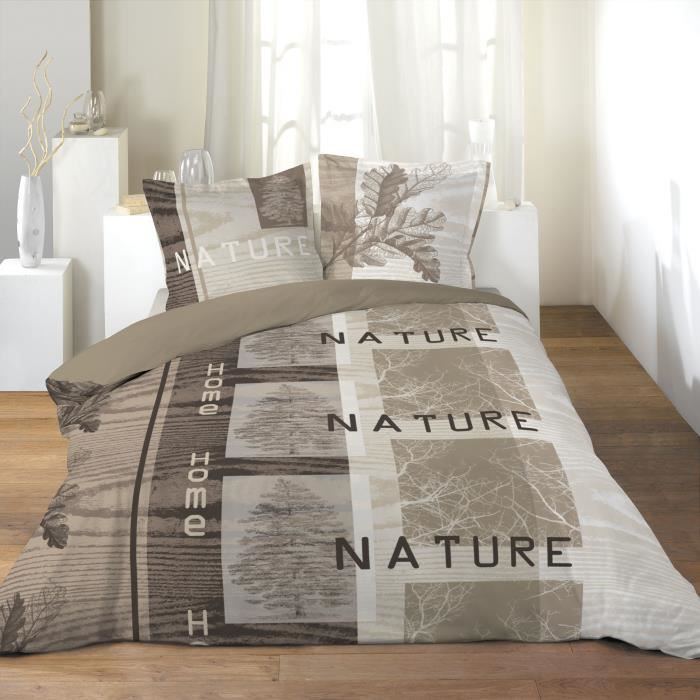 housse couette 220 x 240 cm taies home nature achat vente parure de co. Black Bedroom Furniture Sets. Home Design Ideas