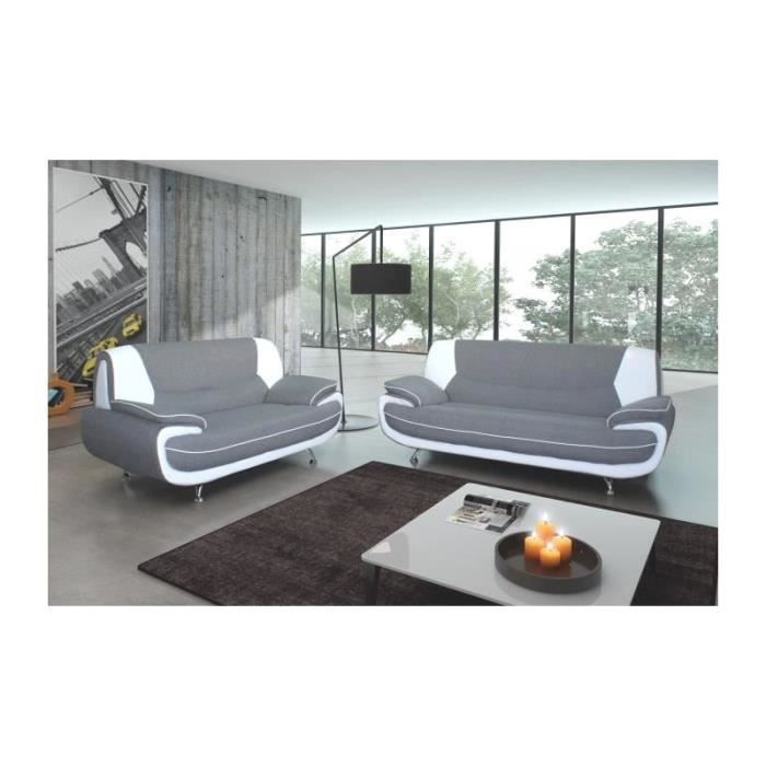 canap 3 2 places palerme gris et blanc achat vente salon complet cdiscount. Black Bedroom Furniture Sets. Home Design Ideas