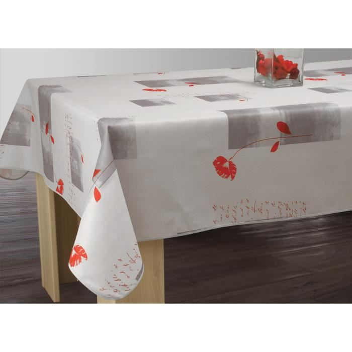 nappe anti taches rectangulaire 150x240 cm coquelicot gris achat vente nappe de table. Black Bedroom Furniture Sets. Home Design Ideas