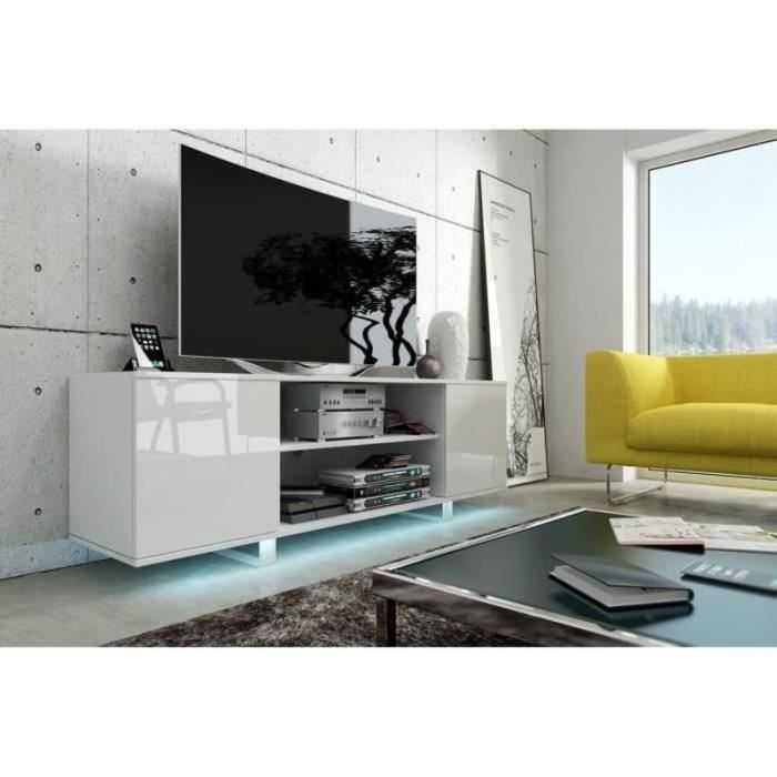 meuble tv t l vision avec led vero blanc blanc. Black Bedroom Furniture Sets. Home Design Ideas