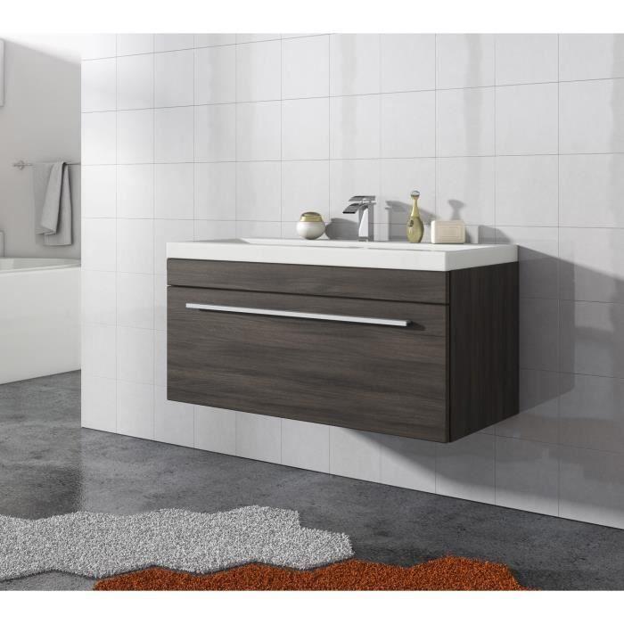 Meuble de salle de bain Porto 90cm lavabo Chêne gris ...