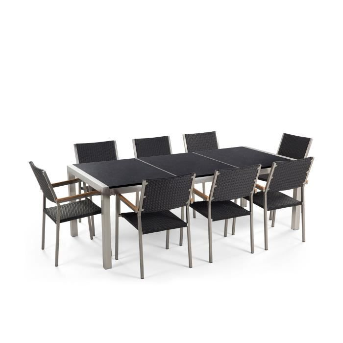 Table de jardin acier inox - plateau granit triple noir poli ...