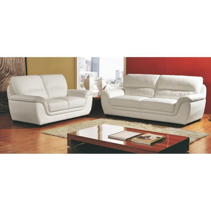 salon en cuir blanc 2 3 places kalmia achat vente canap sofa divan cuir polyur thane. Black Bedroom Furniture Sets. Home Design Ideas