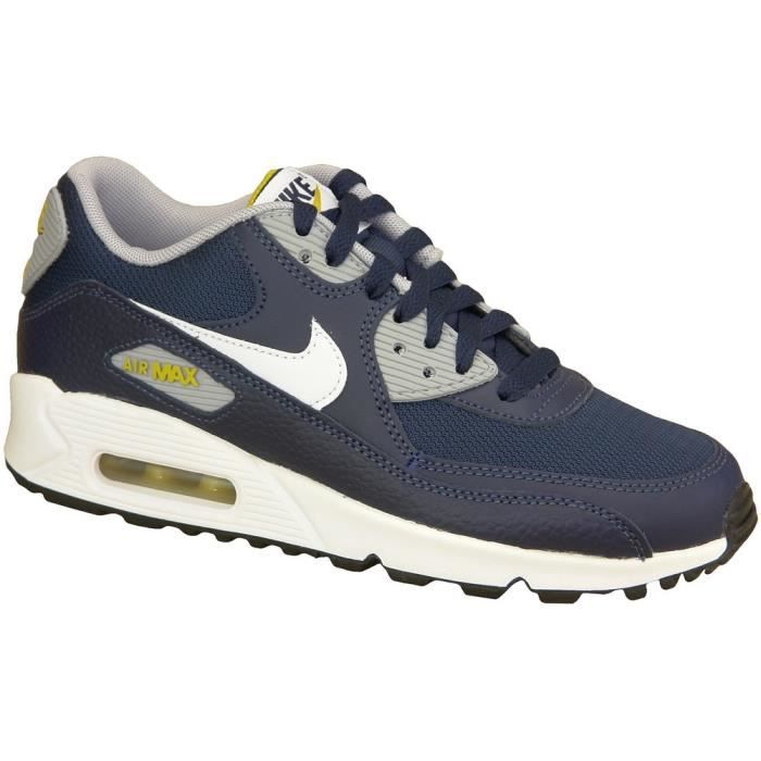 "Nike Air Max 90 Gs 307793-417 Junior Baskets ""Obsidian Blanc Gris"""