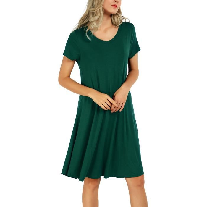 Tunique Robe Fluide Grande Taille Casual Chemise Longue Tops T-shirt Robe Pour Femme 1CD3GN Taille-36