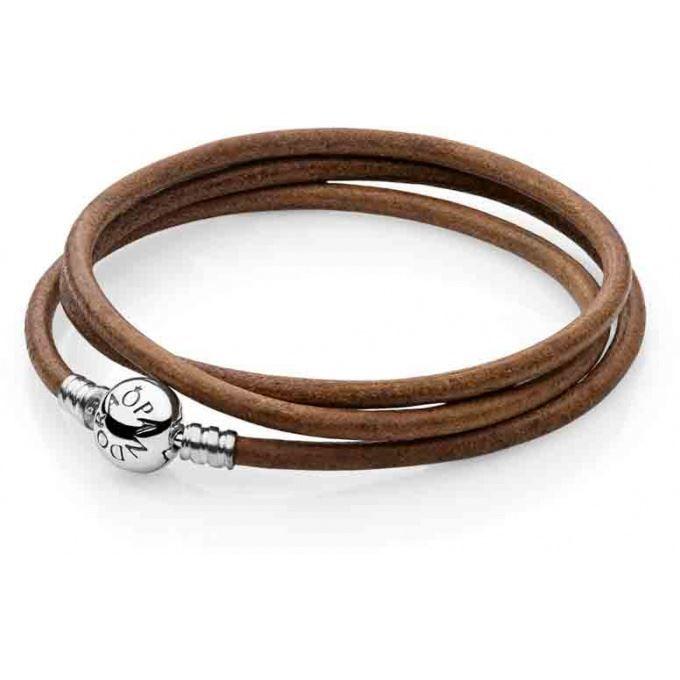Bracelet Pandora 590714CBN-T - Cuir Lisse Marro… - Achat / Vente ...