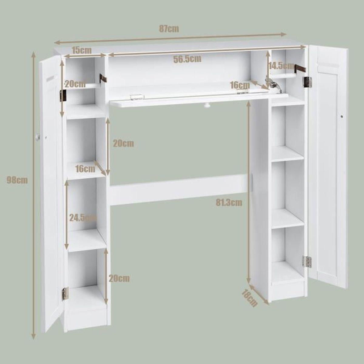 Toilette Gain De Place meuble wc armoire de toilette etagère de salle de bains pont wc pour  rangement 87 x 18 x 98 cm blanc en bois