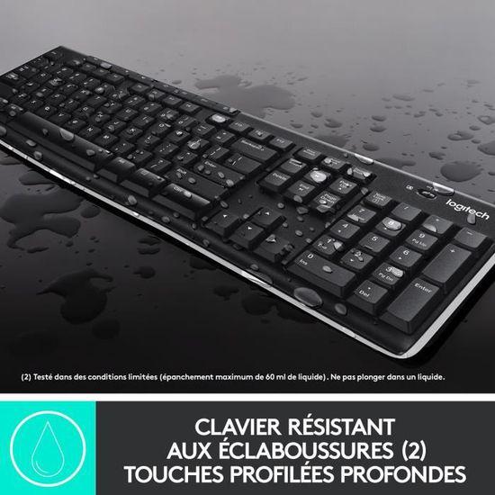 PC//Portable Batterie Longue Dur/ée 24 Mois Logitech K270 Clavier sans Fil pour Windows Clavier QWERTZ Allemand 2,4 GHz avec R/écepteur Unifying USB Noir 8 Touches de Raccourci