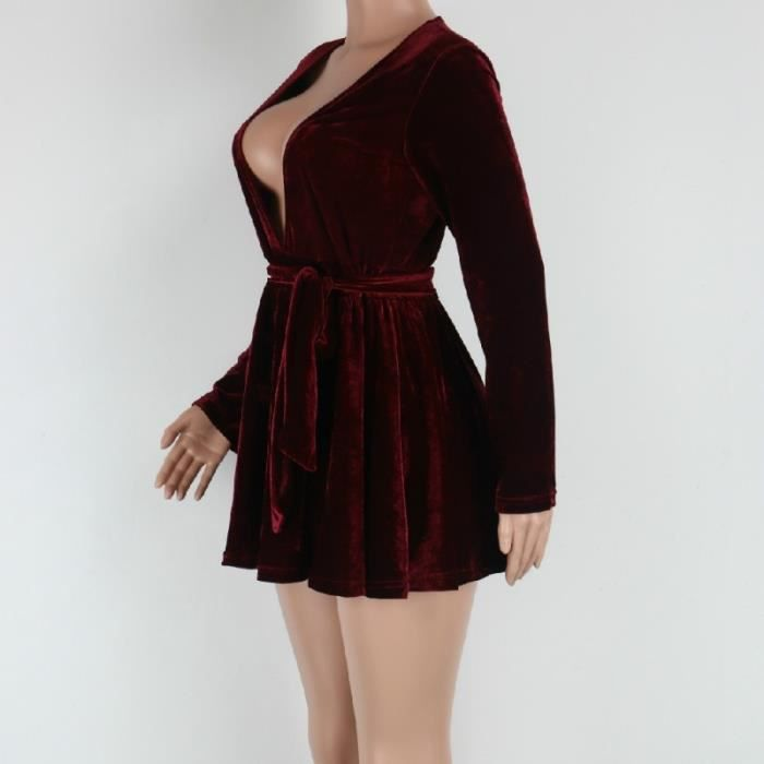 Robe Sexy femmes Casual v-cou velours Vintage Mini