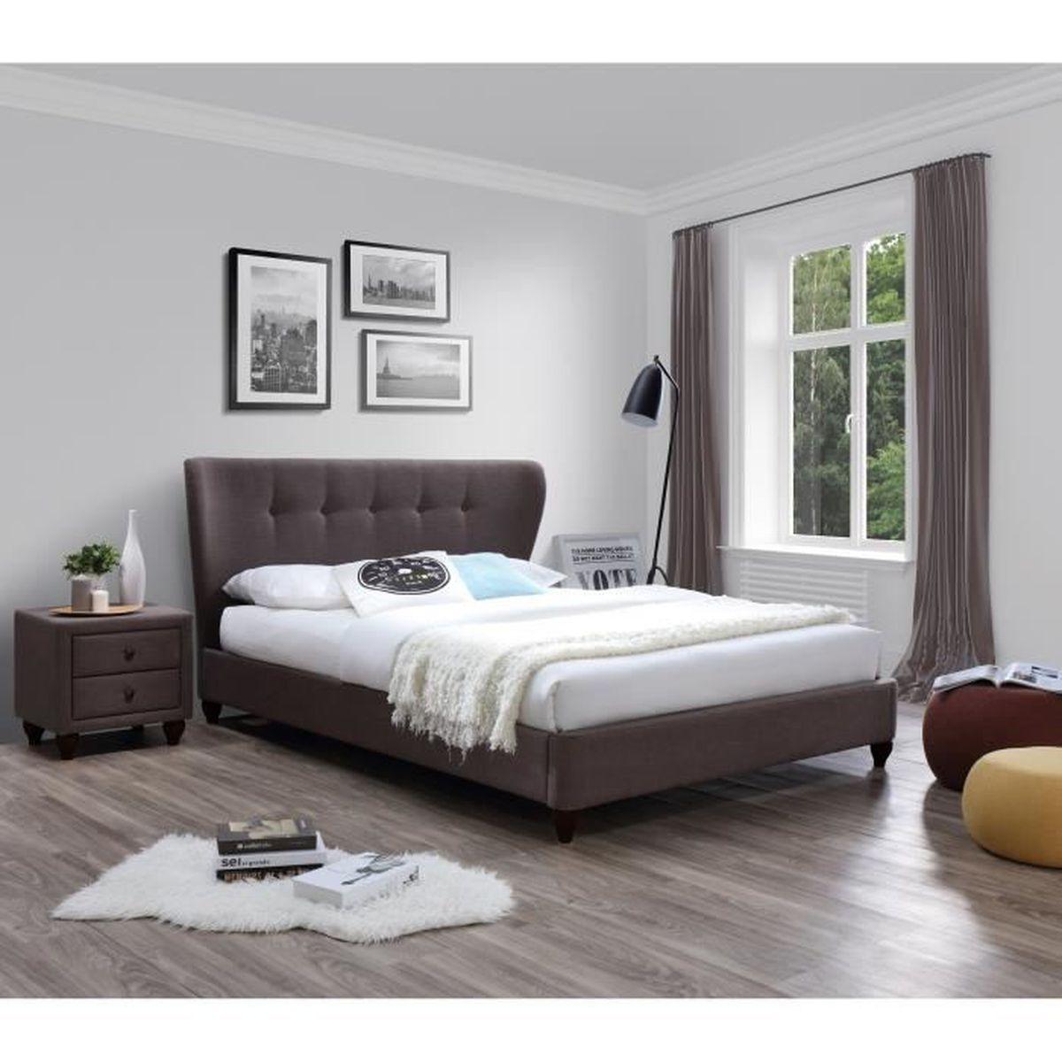Lit Avec Tete De Lit Matelassé bois de lit avec tete 160x200 sans sommier