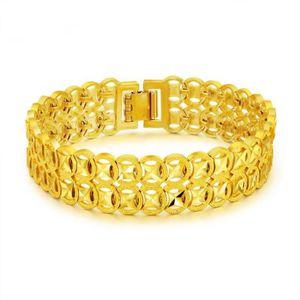 BRACELET - GOURMETTE large Bracelet de poignet Or jaune 18k plaqué Femm