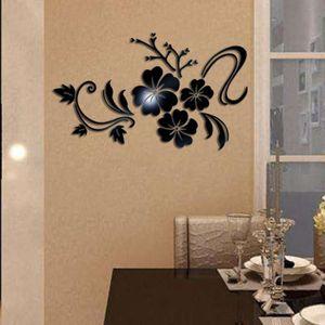 OBJET DÉCORATION MURALE 3D Miroir Art Floral Amovible autocollant Mural Ac