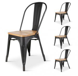 CHAISE KOSMI.FR - Lot de 4 Chaises en métal noir et bois