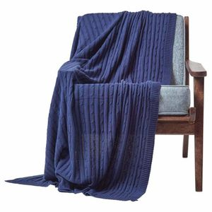 JETÉE DE LIT - BOUTIS Jeté de lit ou de canapé 100% coton torsadé Bleu M